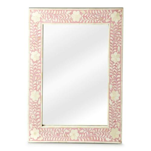 Butler Specialty Company - This wall mirror is the prettiest of them all. The delicate floral inlay around all four sides adds blushing beauty with white bone mosaic against a pink background.