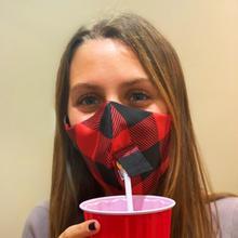 See Details - Happy Hour Reusable Face Mask in Buffalo Check Red