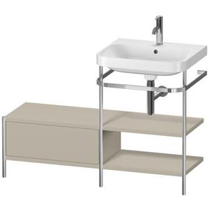 Furniture Washbasin C-shaped With Metal Console Floorstanding, Taupe Satin Matte (lacquer)
