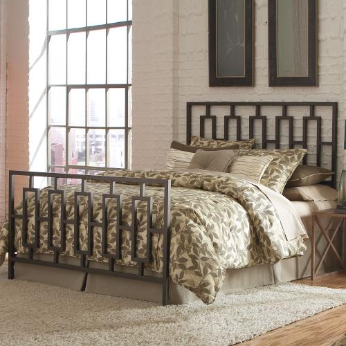 Fashion Bed Group - Miami Metal Headboard and Footboard Bed Panels with Geometric Designed Grills and Squared Tubing, Coffee Finish, Full