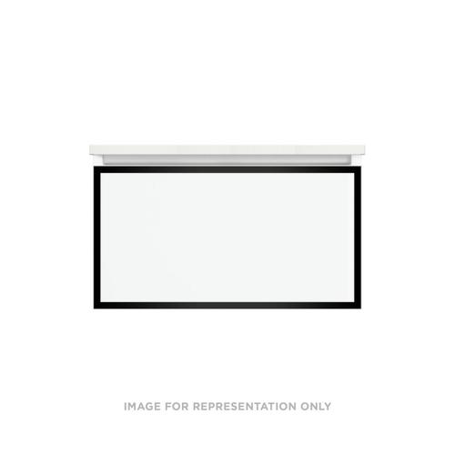 """Profiles 30-1/8"""" X 15"""" X 18-3/4"""" Modular Vanity In Beach With Matte Black Finish and Slow-close Plumbing Drawer"""