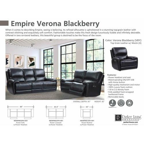 Parker House - EMPIRE - VERONA BLACKBERRY Power Sofa