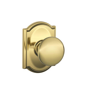 Plymouth Knob with Camelot trim Hall & Closet Lock - Bright Brass Product Image