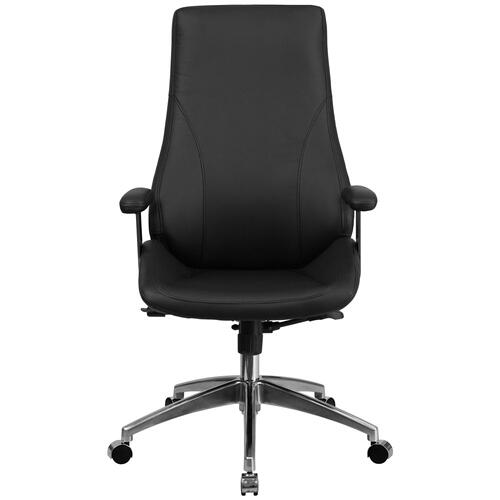 High Back Black Leather Executive Swivel Chair with Arms