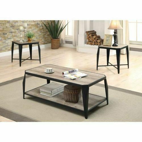Acme Furniture Inc - ACME Oldlake 3Pc Pack Coffee/End Table Set - 81920 - Antique Light Oak & Black