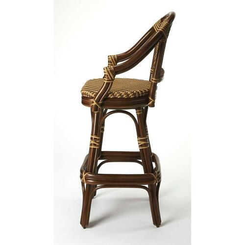 Outfit the home bar or accent your favorite seating group with this essential stool, perfect in the parlor or den.This bar stool features fine rattan, raffia and plastic weaving, swivel mechanism and double pole footrests; makes for a wonderful island set