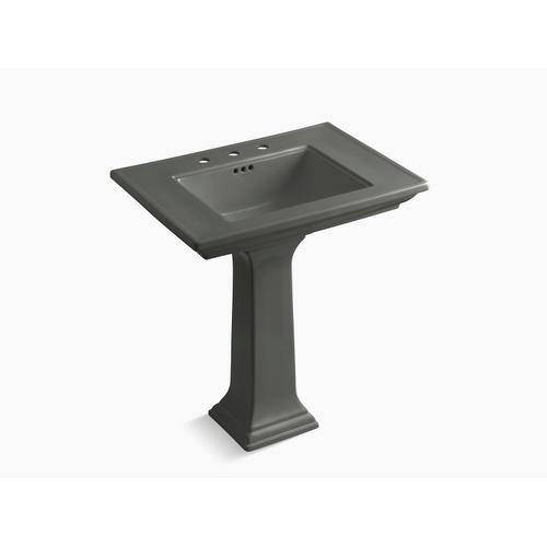 """Thunder Grey 30"""" Pedestal Bathroom Sink With Widespread Faucet Holes"""