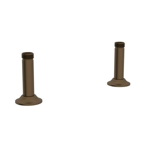 English Bronze Perrin & Rowe Georgian Era Straight Deck Unions For Bridge Faucet
