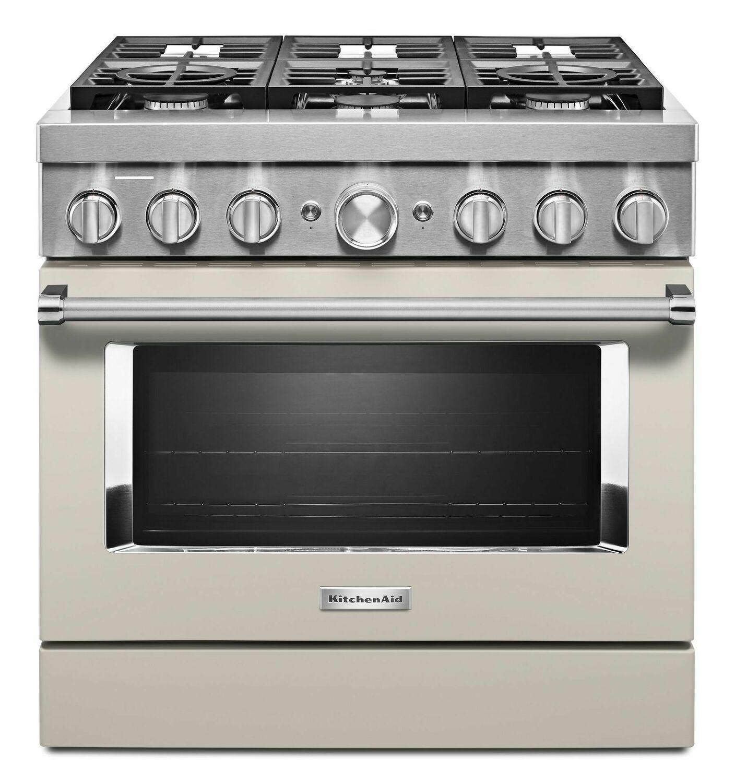 KitchenaidKitchenaid® 36'' Smart Commercial-Style Dual Fuel Range With 6 Burners - Milkshake