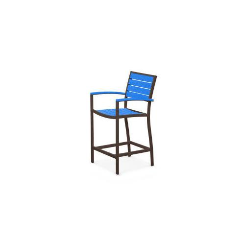 Polywood Furnishings - Eurou2122 Counter Arm Chair in Textured Bronze / Pacific Blue