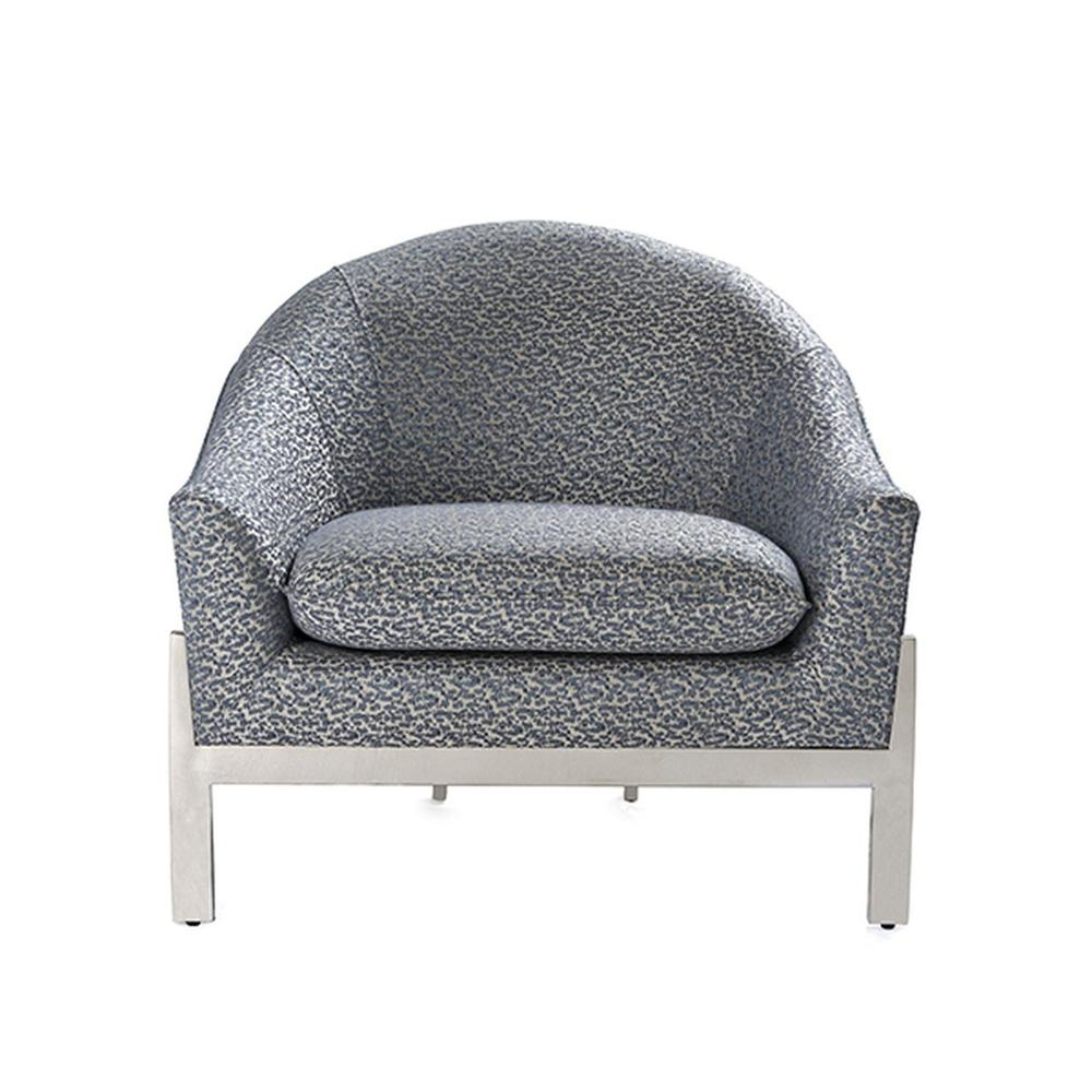Modern Lounge Chair With Nickel Base In P01 Abstract Blue Steel Fabric