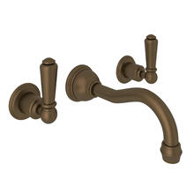 Edwardian Wall Mount Column Spout Bathroom Faucet - English Bronze with Metal Lever Handle