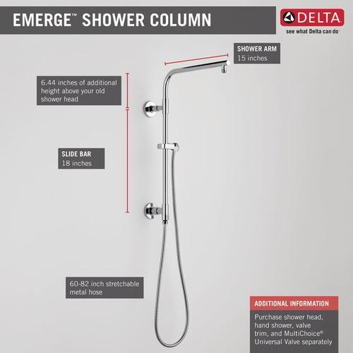 """Black Stainless Shower Column 18"""" Round"""
