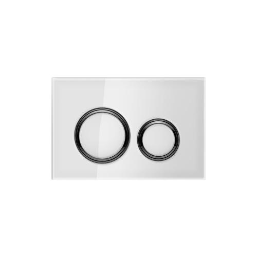 Sigma21 Dual-flush plates for Sigma series in-wall toilet systems White Glass Finish