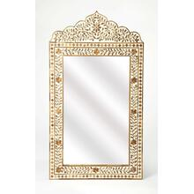This magnificent wall mirror features sophisticated artistry and consummate craftsmanship. The botanic patterns covering the piece are created from Teak inlays cut and individually applied in a sea of whiteby the hands of a skillful artisan. No two mirror