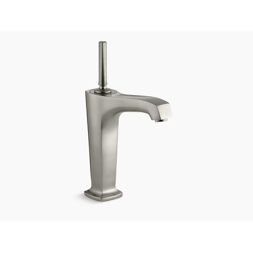 "Vibrant Brushed Nickel Single-hole Bathroom Sink Faucet With 6-3/8"" Spout and Lever Handle"