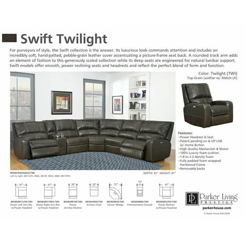 Parker House - SWIFT - TWILIGHT Power Right Arm Facing Recliner
