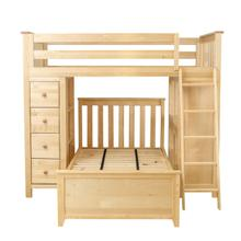 See Details - All in One Loft Bed Storage Study + Twin Bed Natural