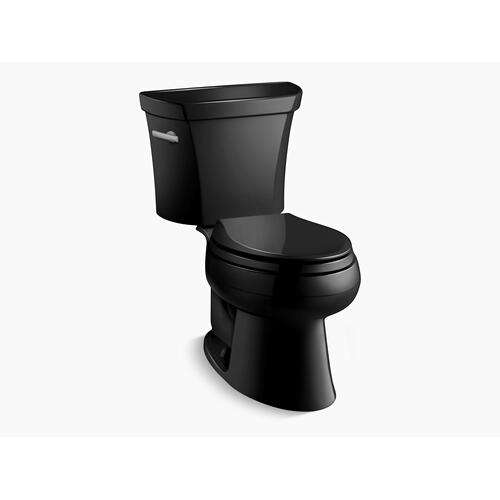 Black Black Two-piece Elongated 1.0 Gpf Toilet With Tank Cover Locks, Less Seat