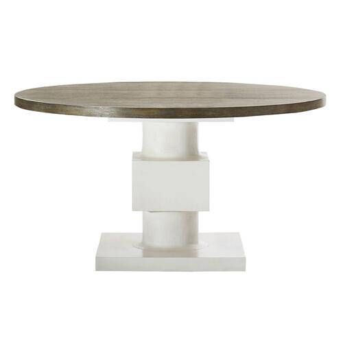 Newberry Round Dining Table in Rustic Gray, White Plaster