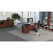View Product - Sequel 20 6101 Desk in Chocolate Walnut Satin Nickel