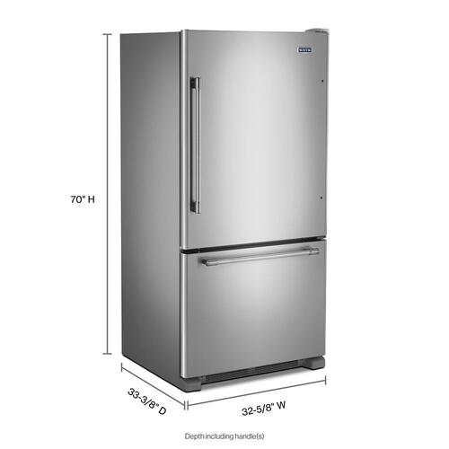 Maytag - 33-Inch Wide Bottom Mount Refrigerator - 22 Cu. Ft.
