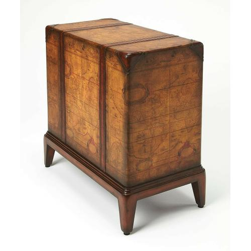 Butler Specialty Company - Regal and functional, this chairside table is a unique piece that will be admired by all. Crafted from select solid woods and wood products, this table boasts a laminated old world map surface with glaze and lacquer. The leather handle drawers open to reveal an ample storage area. Intricate detailing along the top and bottom rims and four feet complete the look.