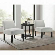 ACME Genesis II 3Pc Pack Chair & Table - 59843 - Cloud Gray Linen & Black