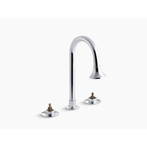Polished Chrome Widespread Commercial Bathroom Sink Faucet With Gooseneck Spout With Rosespray and Rigid Connections, Requires Handles, Drain Not Included