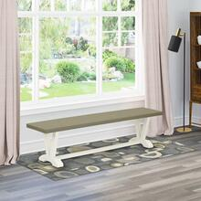 15x60 in Dining Bench with Wirebrushed Linen White Leg and Cement Top finish