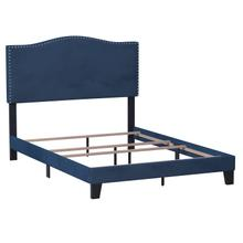 Kiley Upholstered Full Bed, Blue Velvet