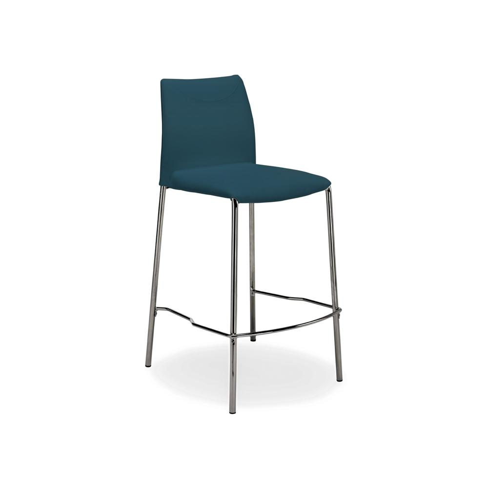 The Romi Counter Height Bar Stool In Teal Leather With Chrome Plated Base