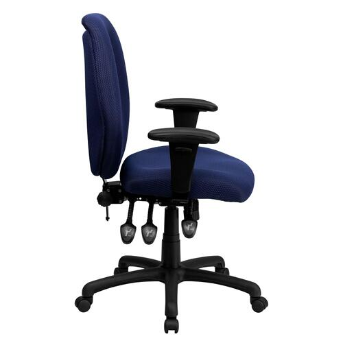 High Back Navy Fabric Multifunction Ergonomic Executive Swivel Chair with Adjustable Arms
