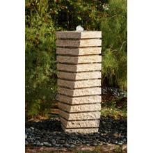 Garden Fountain: Tiered Helix Fountain Beige Granite