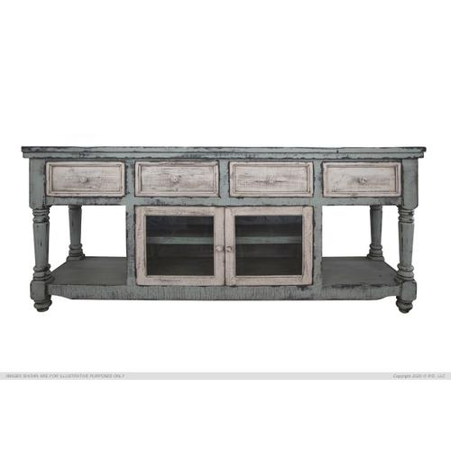 """70"""" TV Stand in Sky Blue Finish, w/4 white drawer & 2 white doors"""