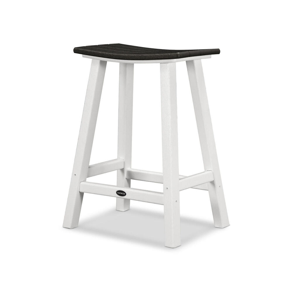 "White & Black Contempo 24"" Saddle Bar Stool"