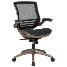 Mid-Back Transparent Black Mesh Executive Swivel Chair with Melrose Gold Frame and Flip-Up Arms