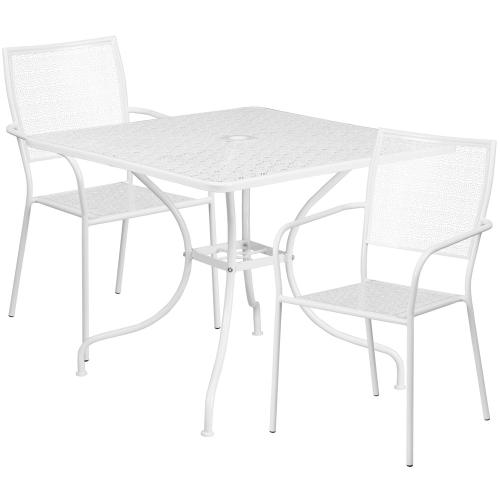 35.5'' Square White Indoor-Outdoor Steel Patio Table Set with 2 Square Back Chairs