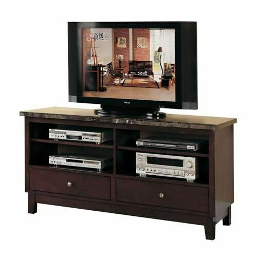 ACME Danville TV Stand - 07093B - Black Marble & Walnut