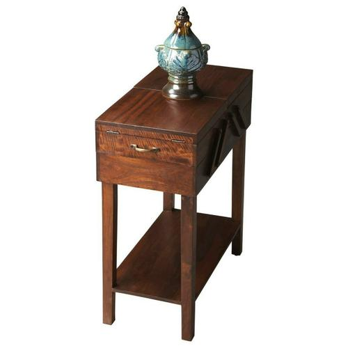 This understated table is the ideal chairside companion. It boasts both a generous top surface suitable for both a beverage and your favorite magazine, and convenient storage areas inside to tuck away everyday items for safekeeping. Handcrafted from acacia wood solids, it features a distressed brown provincial finish with antique brass hardware.