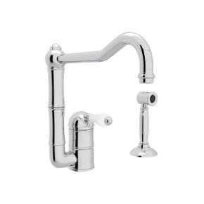 Acqui Single Hole Column Spout Kitchen Faucet with Sidespray - Polished Chrome with White Porcelain Lever Handle