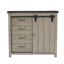 4 Drawer Sliding Door Chest in Farmhouse Grey