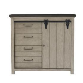 4 Drawer Sliding Door Chest in Farmhouse Grey