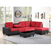 See Details - Albert Reversible Sectional with Drop Down Table and Storage Ottoman,Red & Black