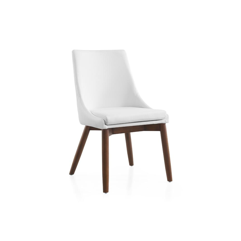 The Creek White Eco-leather / Walnut Legs Dining Chairs