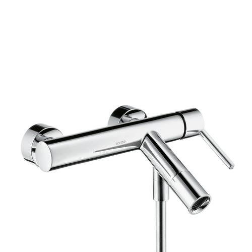 Brushed Brass Single lever bath mixer for exposed installation with lever handle