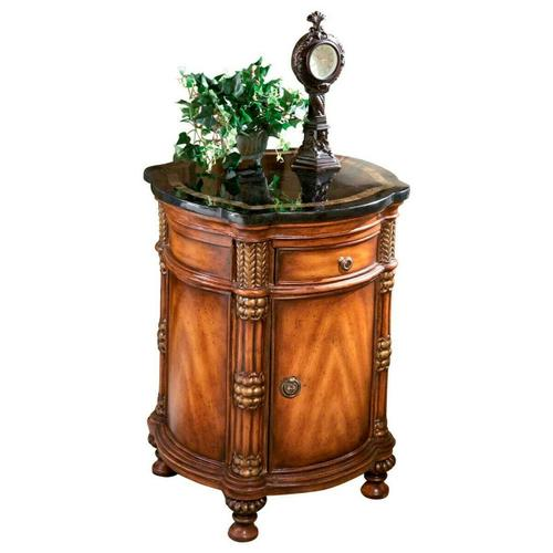 Butler Specialty Company - Made of select solid woods, wood products, resin components and choice veneers. Fossil stone veneer top with snakeskin fossil stone inlay border. Single drawer and one door with antique brass finished hardware. Center shelf behind door.