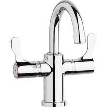 "See Details - Elkay Single Hole 8-5/8"" Deck Mount Faucet with Gooseneck Spout Twin Lever Handles Chrome"