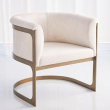 See Details - Regan Barrel Chair w/Ivory Hair-on-Hide-Antique Brass