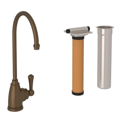 English Bronze Perrin & Rowe Georgian Era C-Spout Filter Faucet with Metal Lever